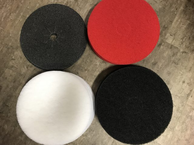 "17"" Floor Buffer Pads in black, red, white, 24 grit, and sanding screens available."